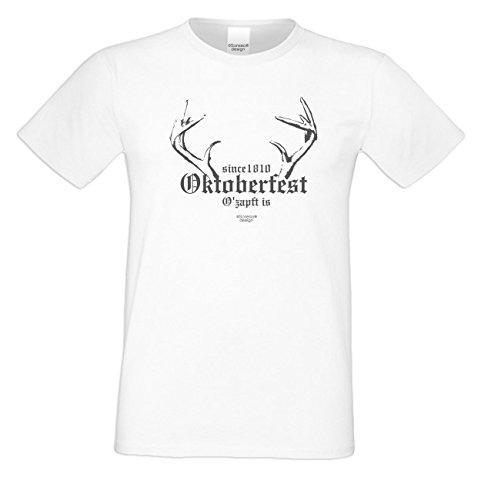 Witziges-Herren-Sprüche-Fun-T-Shirt cooles Volksfest Oktoberfest Party Outfit Motiv Since 1810 Oktoberfest auch in Übergrößen Farbe: weiss Weiß