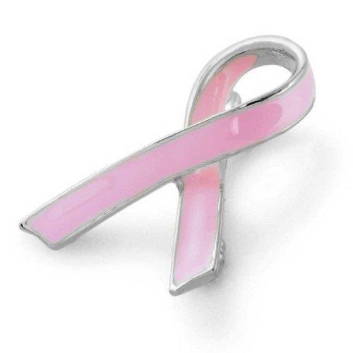 Bling Jewelry Pink Ribbon Brustkrebsüberlebender Rosa Emaille Brosche Pin Für Damen Emaille Versilbert (Spaziergänge Pink Ribbon)