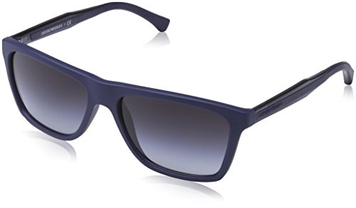 Emporio Armani Herren EA 4001 Modern Rechteckig Sonnenbrille, 50658G, Blue Rubber, Grey Grad