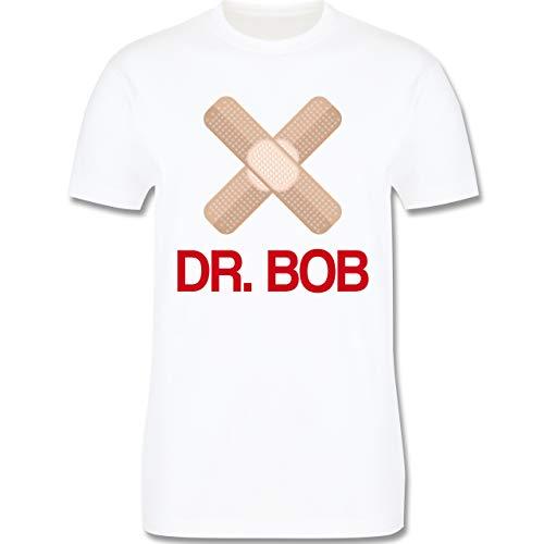 Karneval & Fasching - Dr. Bob Kostüm Pflaster - XL - Weiß - L190 - Herren T-Shirt Rundhals
