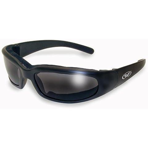 Rundum occhiali da sole moto con imbottitura in schiuma EVA completare con gratuita Borsa in microfibra.