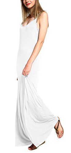 Damen Ärmellos Langes Top Stretch Maxi Kleid (L, Weiß) (Langes Kleid Stretch)