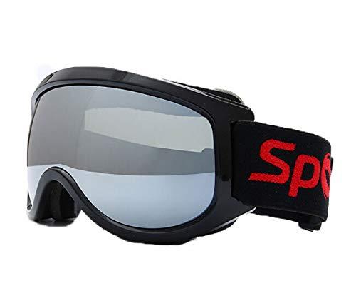 DOLOVE Schnee Brille Fahrrad Sportbrille Radfahren Arbeitsbrille für Brillenträger Schwarz Silber
