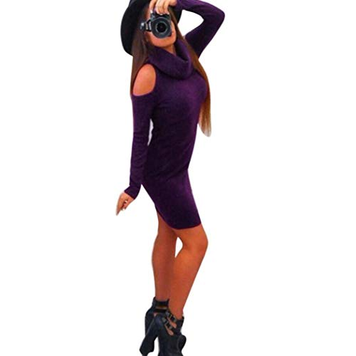 Qiusa 2017 Fashion Herbst Winter Kleid Solide Off Schulter Frauen Rollkragen Bodycon Langarm Abend Sexy Party Cocktail Mini Kleider Von gemacht (Farbe : Lila, Größe : ()
