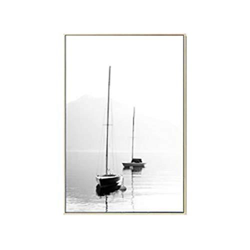 XWArtpic Schwarz und Weiß Feder Landschaft Abstrakte Leinwand Malerei Nordic Poster Drucken Wandkunst Bilder Wohnzimmer Home Office Decor A 60 * 80 cm