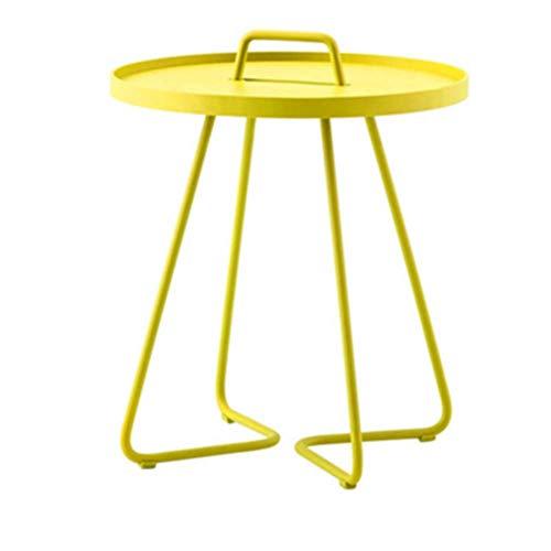Nan tavolino con maniglia - tavolino per uso interno ed esterno - tavolino per terrazza e balcone (colore : giallo, dimensioni : 52 * 52cm)