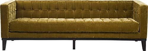 Kare Design Sofa Mirage 3sitzer, moderne Retro Lounge-Couch mit samtigen Vintagestoff, Grün (H/B/T) 71x226x80cm
