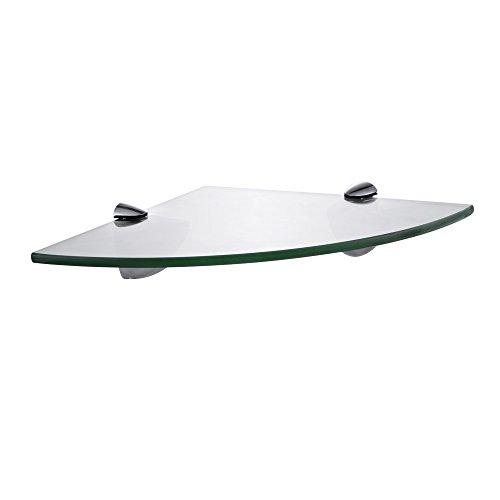 Kes mensola angolare da bagno con fondo in vetro e asta vetro temperato 25 x 25 cm cromato, bgs3100