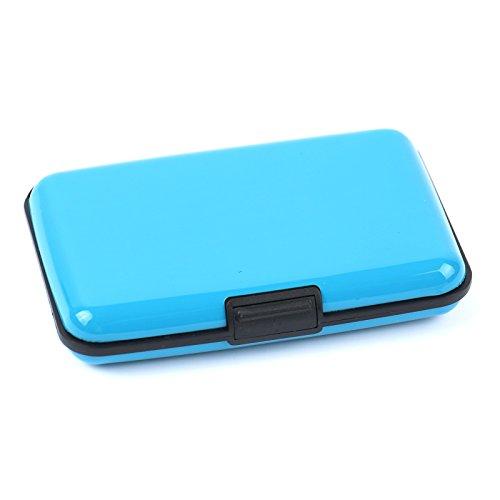 2-TECH Deluxe Kreditkarten Etui Alu Case Wallet Himmelsblau Metallic