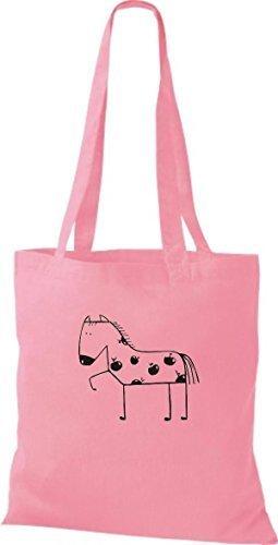 ShirtInStyle Stoffbeutel Baumwolltasche Lustige Tiere Pferd Pony Farbe Pink rosa