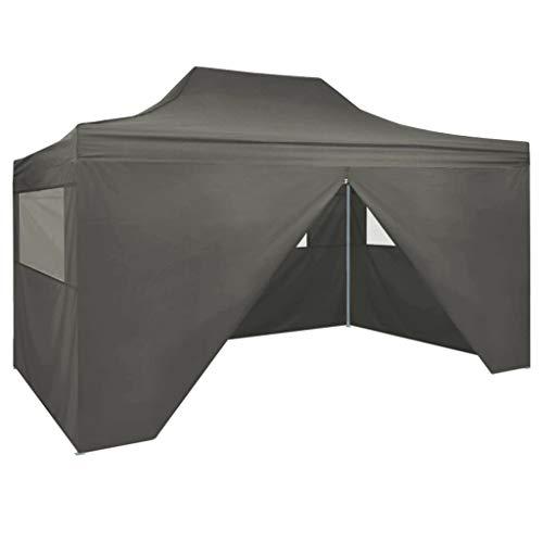vidaXL Tente Pliable 4 Parois Latérales 3x4,5 m Anthracite Tonelle Pavillon