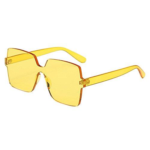 Whycat Retro Sonnenbrille Polarisiert Color Sonnenbrille, Candy Color Brille Einteilige randlose Sonnenbrille Transparente Brillen(F)