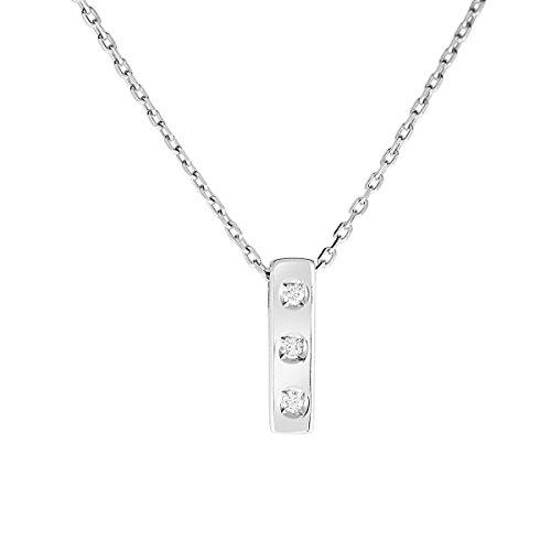 Diamond Line Damen - Halskette 333er Gold 3 Diamanten ca. 0,035 ct., weißgold Preisvergleich