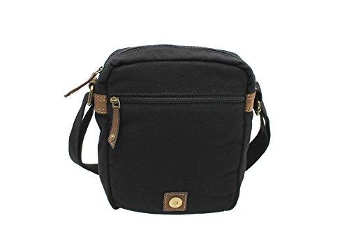 CACTUS tela e Distressed Leather Messenger Bag oliato CM816_81 Viola nero
