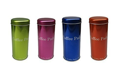 Kaffee Pad Behälter 4-er Set Neon Pink/Grün/Orange/Blau