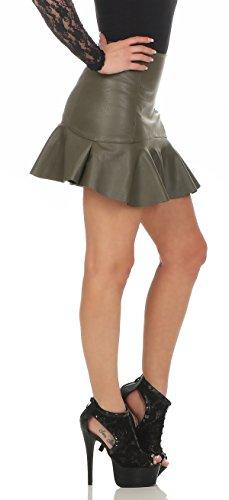 11044 Fashion4Young Damen Rock Minirock Rock Lederimitat Skirt Volantrock Damenrock Oliv