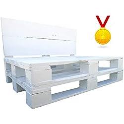 Dydaya Estructura de Sofa de Palet/Pallets Color Blanco con Respaldo para Interior & Exterior para Patio, Jardín & Atico