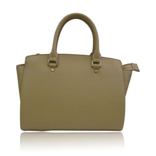 UKFS Celine Borse Tote / progettista delle ragazze delle signore del Faux della borsa sacchetto di cuoio / spalla (Medio Rosso) Medio Beige