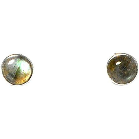 Forma rotonda, in argento Sterling, con LABRADORITE -Orecchini a lobo - 8 mm, (LBS2103167)