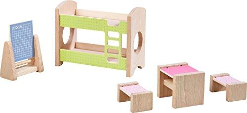 HABA 303836 - Little Friends – Puppenhaus-Möbel Kinderzimmer für Geschwister | Mit Bett, Schreibtisch, Stuhl und Regal | Passend für alle Little Friends-Puppenhäuser