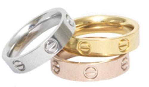 Love Ring - UK Manufactured - High Quality 18ct Plating onto Titanium Non Tarnish Unisex (Gold, 6)