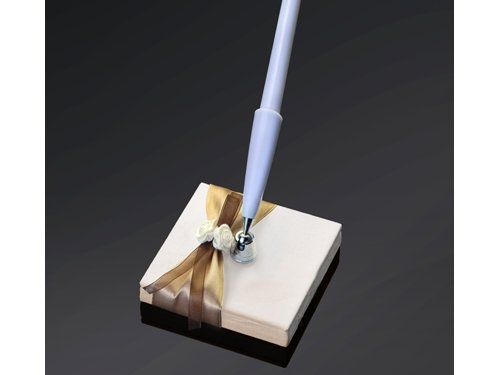 Kugelschreiber-Ständer creme Satinrosen, 8 x 8 cm, 1 Set