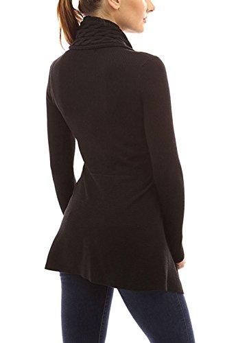 Minetom Femme Mode Cardigan Ouvert Tricoté Crochet à Manches Longues Grandes Tailles Hauts Avec Boutons Irrégulier Câble Pulls Manteau Noir