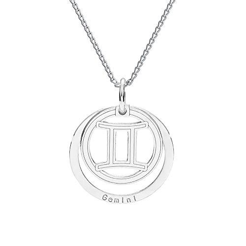 *farfalla rossa * - collana - segno zodiacale - gemelli - con catena in argento 925 con ciondolo, collana con custodia