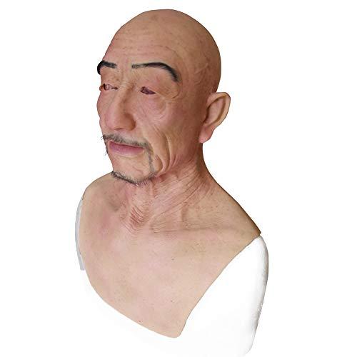 HSNC Cosplay Alter Mann Maske Sexy Bart Silikon Crossdresser Maskerade Weiblichen Kopf Handgemachte Make-Up Transgender Erwachsene Masken für Halloween (with Beard)