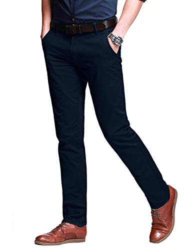 Match Herren Slim-Tapered Flat-Front Casual Hose #8050(8050 Navy blau#1,34) Flat-front Chino-hose