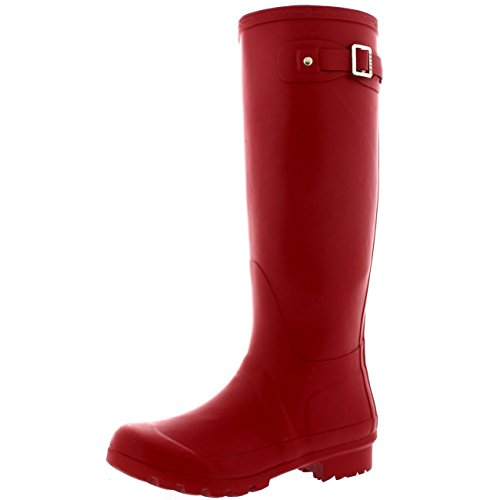Damen Original Tall Schnee Winter Regen Wellies Gummistiefel Stiefel Dunkelrot
