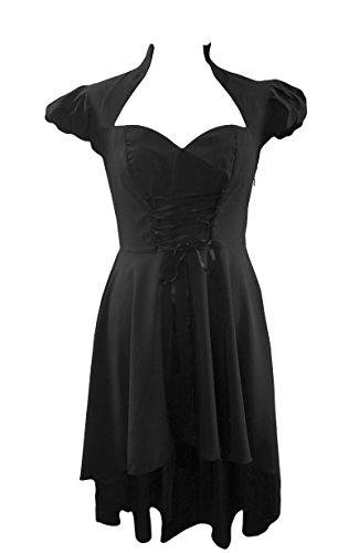 Schwarz (Victorian Dress) Korsett-Top, Viktorianische Steampunk Stil-Kleid Gr 36/38
