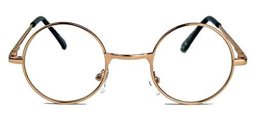 Geek Style kleine Streberbrille mit Metallrahmen Nerdbrille rund clear SLN lens (Rosegold)