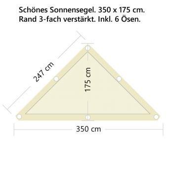 StoffHandwerker Sonnensegel - Fix+Fertig - 350 x 175cm - Dreieck rechtwinklig
