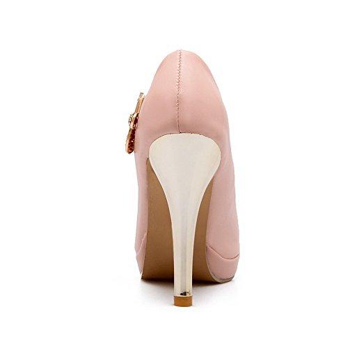 VogueZone009 Femme Fermeture D'Orteil Rond Tire Pu Cuir Couleur Unie Stylet Chaussures Légeres Rose