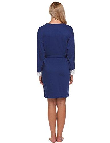 ADOME Damen Nachthemd Baumwolle Langarm Still Pyjama V Ausschnitt Spitze Schlafkleid Blau/Grau/Lila Gr.36-44 7821_Blau
