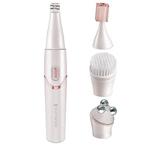 Remington Gesichtspflege Kit smooth&silky EP7070, Gesichtsepilierer, Gesichtsreinigungsbürste, Massageroller, Trimmer, batteriebetrieben, perlmuttfarbenes weiss/rosé