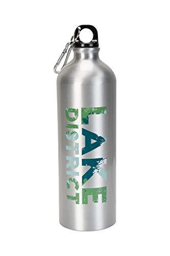Mountain Warehouse Trinkflasche aus Metall, mit Karabiner, Kapazität von 1 Liter - Aufdruck mit Lake District-Motiv, robuster Karabiner - zum Campen, Pendeln, Wandern Silber