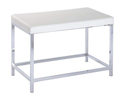 Wenko 19942100 Hocker Deluxe Long White - Badhocker, gepolsterte Sitzfläche, Kunststoff, 70 x 47 x 40 cm, weiß