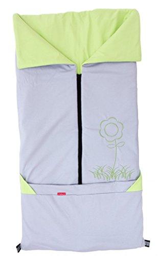 ByBoom® - Sommer-Kinderwagen Fußsack 2in1; Universal Fußsack und Decke für Babyschale, Autokindersitz, z.B. für Maxi-Cosi, Römer, Buggy, Babybett, Farbe:Grau/Limette