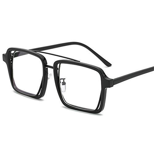 Multi-Frames brillengestell Brillenfassungen Brillen Persönlichkeit dicke seitliche Box flachen Spiegel ultraleichte Metallgläser, schwarzen Rahmen