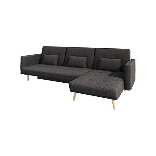 Selsey Mru Mru - Schlafsofa/Ecksofa mit Schlaffunktion Bettkasten und Stoffbezug in Dunkelgrau ca. 270x150 cm