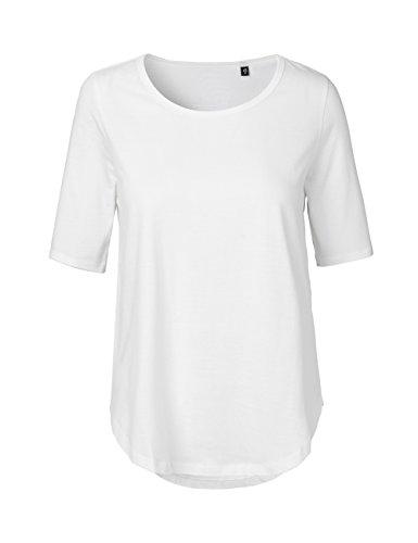 100 Baumwolle Damen T-shirt (-Green Cat- Damen Halbarm T-shirt, 100% Bio-Baumwolle. Fairtrade, Oeko-Tex und Ecolabel zertifiziert, Textilfarbe: weiss, Gr.: M)
