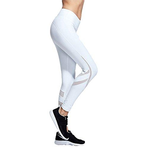 henglong Damen Weiße Rumba Leggings Übergröße Workout Gym Pants Activewear Mesh Hose Laufen Training Tights, Damen, weiß, Medium -