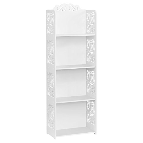 Finether 4 Böden weiß Regal Stehregal StandregalSteckregal Schuhregal wasserdicht Bücherregal für Wohnzimmer Badezimmer 40x 22x116 cm
