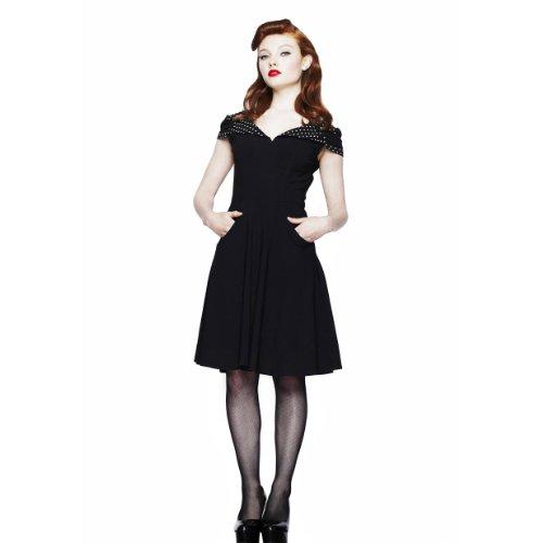 Hell Bunny - vestido rockabilly Evie - espalda descubierta - de lunares - largo hasta la rodilla - años 50 - estilo chica pin up - rockabella - negro - XL