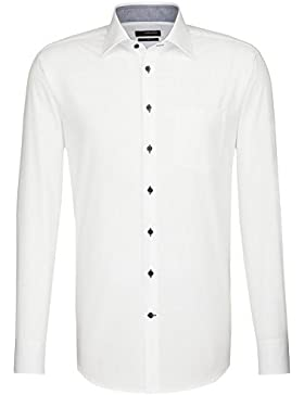 Seidensticker Herren Langarm Hemd Uno Regular Fit weiß mit Patch 131026.01