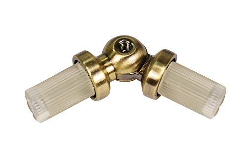 Winkelverbinder für Gardinenstangen mit 16 mm Durchmesser Messing Antik