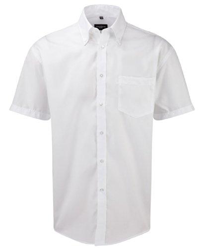 Z957 Bügelfreies kurzärmliges Herrenhemd, Farbe:WHITE;Größen:M (39/40) (Twill Gekämmte Baumwolle Shirt)