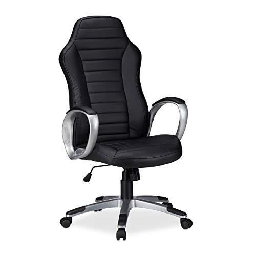 Relaxdays Bürostuhl, höhenverstellbarer Drehstuhl, ergonomisch, bequem, 120 kg belastbar, HBT: 126 x 70 x 70 cm, schwarz